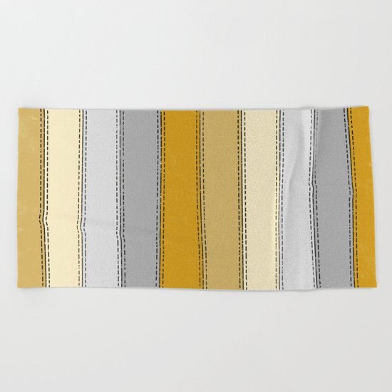 Yellow Lines Beach Towel