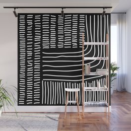Digital Stitches thick black Wall Mural
