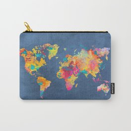 world map blue 2061 #map #worldmap Carry-All Pouch
