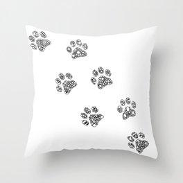 Cat tracks Throw Pillow