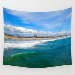 Huntington Beach Surfers Wall Tapestry