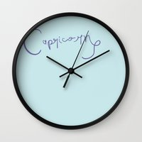 capricorn Wall Clocks featuring Capricorn by LindsayMichelle