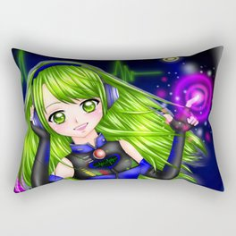 Press the Play Button - Anime Girl with Headphones Rectangular Pillow