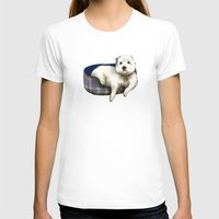 westie T-shirts featuring Dexter the Westie in His Doggie Bed by Circus Dog Industries