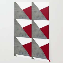 Concrete Burgundy Red White Wallpaper