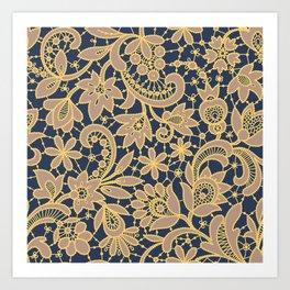 Gold Lace Seamless Pattern. Art Print