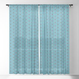 Abstract Turquoise Pattern 5 Sheer Curtain