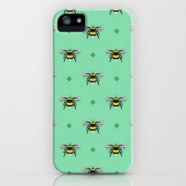 Bumblebees on Spearmint iPhone Case