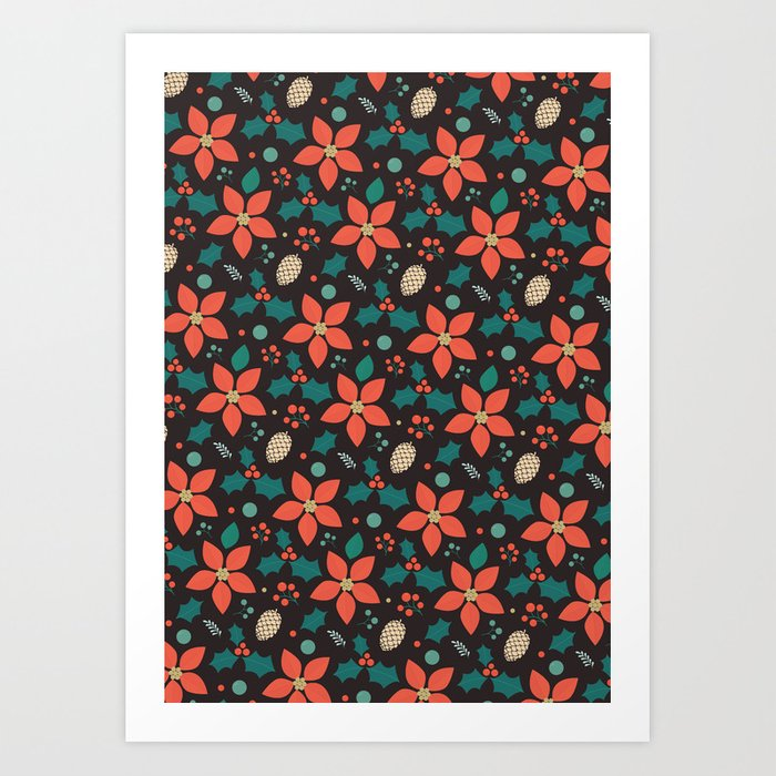 Deck the Halls - Black Background (Patterns Please) Art Print