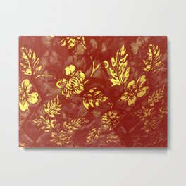Yell0w Orange Abstract Leaf Metal Print