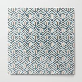 Modern Peach Blue Geometric Abstract Pattern Metal Print