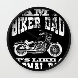 Mens I Am A Biker Dad product Funny Cool Gift for Daddy Wall Clock