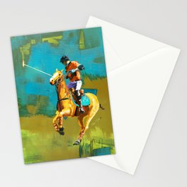 poloplayer abstract turquoise ochre Stationery Cards