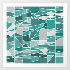 Turquoise and grey Art Print