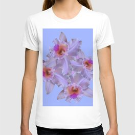 purple tinged white orchids blue art T-shirt