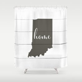 Indiana is Home - Charcoal on White Wood Shower Curtain