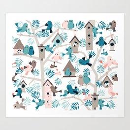 Bird family tree Art Print