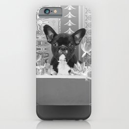 French Bulldog Bathtub lotos Flower Blossoms iPhone Case