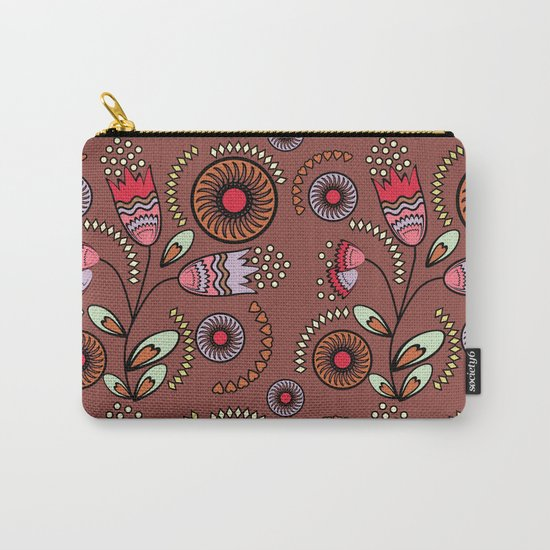 Bright  stylized flowers on a brown background. Carry-All Pouch