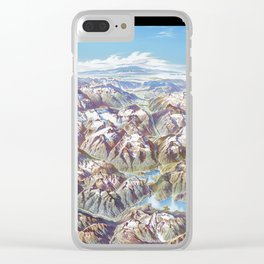 Sky Panorama Map of North Cascade National Park Labeled Clear iPhone Case