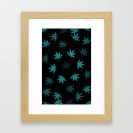Black & Teal Kush Leaf Framed Art Print