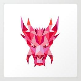 Dragon Head Front Low Polygon Style Art Print