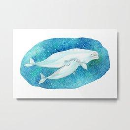 Cute Beluga whales Metal Print