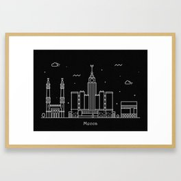 Mecca Minimal Nightscape / Skyline Drawing Framed Art Print