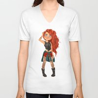 merida V-neck T-shirts featuring Modern AU: Merida by Anoosha Syed