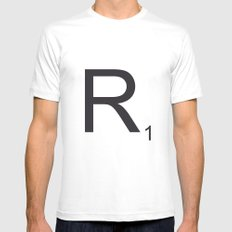 Scrabble R White Mens Fitted Tee MEDIUM