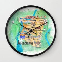 USA Arizona State Travel Poster Illustrated Art Map Wall Clock