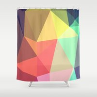geo Shower Curtains featuring peace by contemporary