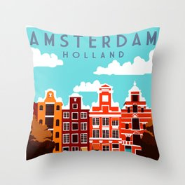 Vintage Amsterdam Holland Travel Throw Pillow