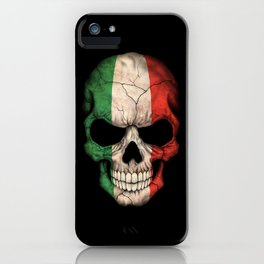 Dark Skull with Flag of Italy iPhone Case