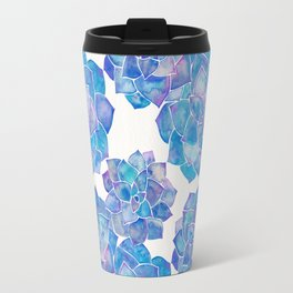 Rosette Succulents – Blue Palette Travel Mug