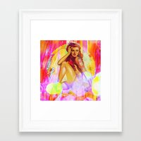 "tatoo Framed Art Prints featuring "" Miss tatoo ""  by shiva camille"