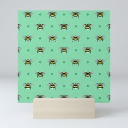Bumblebees on Spearmint Mini Art Print