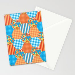 Ditsy Floral, Stripes, Polka Dots, Check Gingham Patchwork Pattern Stationery Cards