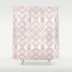 Geo Rose Gold Shower Curtain