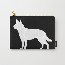 Australian Kelpie dog silhouette dog breed pattern black and white kelpie dog Carry-All Pouch