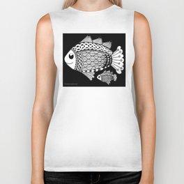 Fishies Zentangle Black and White Pen & Ink Biker Tank