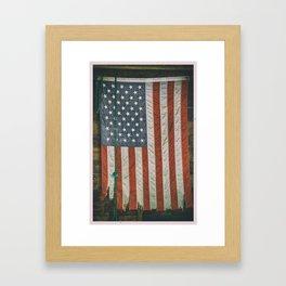 American Flag in Iowa Barn Framed Art Print