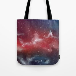 Boat in the stars Tote Bag