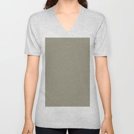 Earthy Mid-tone Green Brown Solid Color Pairs To Sherwin Williams At Ease Soldier SW 9127 Unisex V-Neck