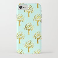 gold foil iPhone & iPod Cases featuring Mint Gold Foil 02 by Aloke Design