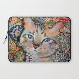 Aslan ... Abstract cat art painting, by Amy Giacomelli Laptop Sleeve