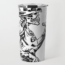 Military zombie - Skull military - zombie illustration Travel Mug
