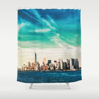 skyline Shower Curtains featuring NYC Skyline by Vivienne Gucwa