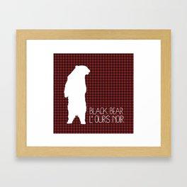 Lumberjack Plaid Black Bear Framed Art Print
