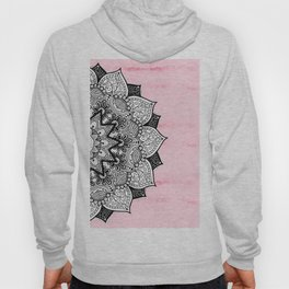 Artistic Boho Hand Drawn Mandala on Pink Tie Dye Hoody